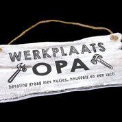 Woodart bordje hangend 12x30cm werkplaats opa antique white