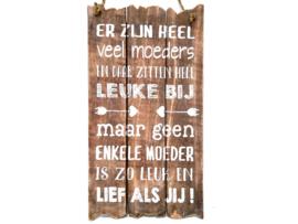 Woodart Tekstbord 55x30 cm  leuke moeders naturel moederdag