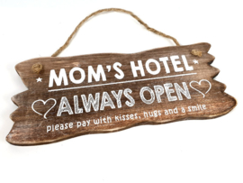 Bordje hangend 12x30 cm. moms hotel naturel moederdag
