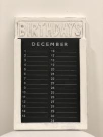 Verjaardagskalender 35 cm wit