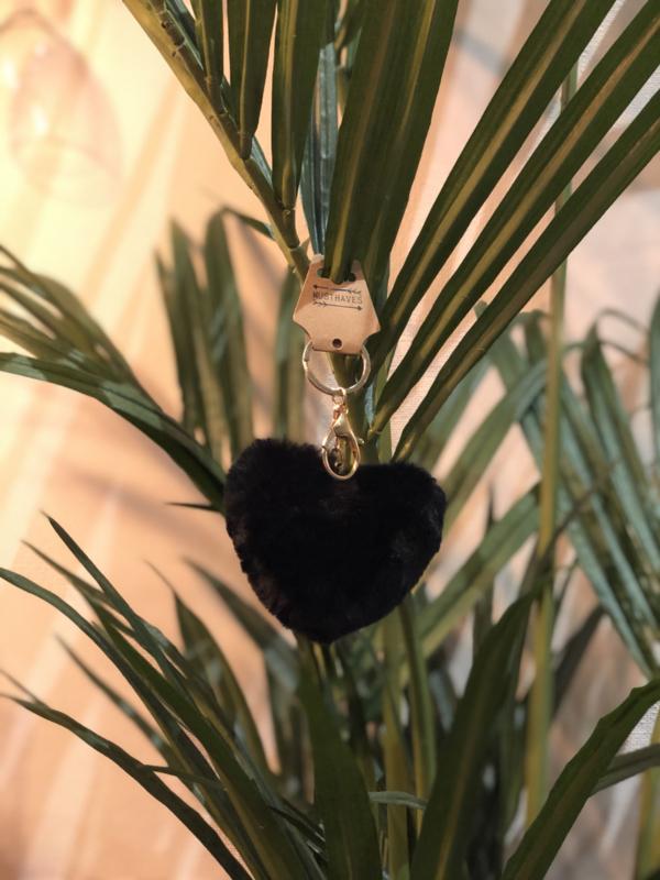 Sleutelhanger fluffy hart black