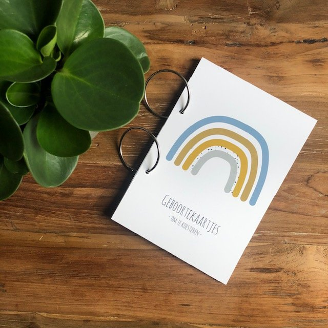 Geboortekaarten bundel | bewaarbundel | blauwe regenboog