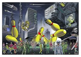 Lichtstadkunst door: John Heijink - Bowling pins - A2 formaat