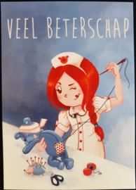 Wenskaart  - Veel Beterschap  -  Jessica Raes - gelimiteerde collectie