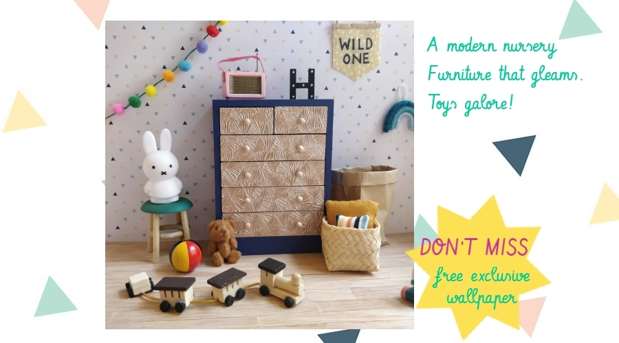 A modern miniature nursery. Furniture that gleams. Toys galore.