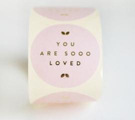 "Roze stickers met gouden letters ""You are sooo loved"" - 10 stuks"