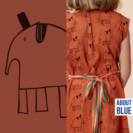 Lewis the elephant  - brown - About blue fabrics