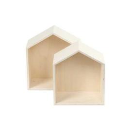 Brede houten hanghuisjes - set van 2
