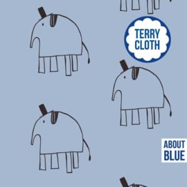 Lewis the elephant - blue- About Blue Fabrics