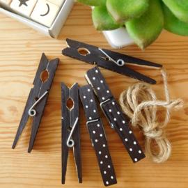 Wasknijpers zwart/wit met stippen (5 st.)
