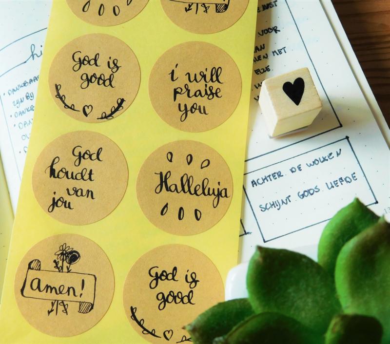 Stickers met kalligrafie (christelijk)