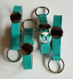 Leren sleutelhanger Turquoise