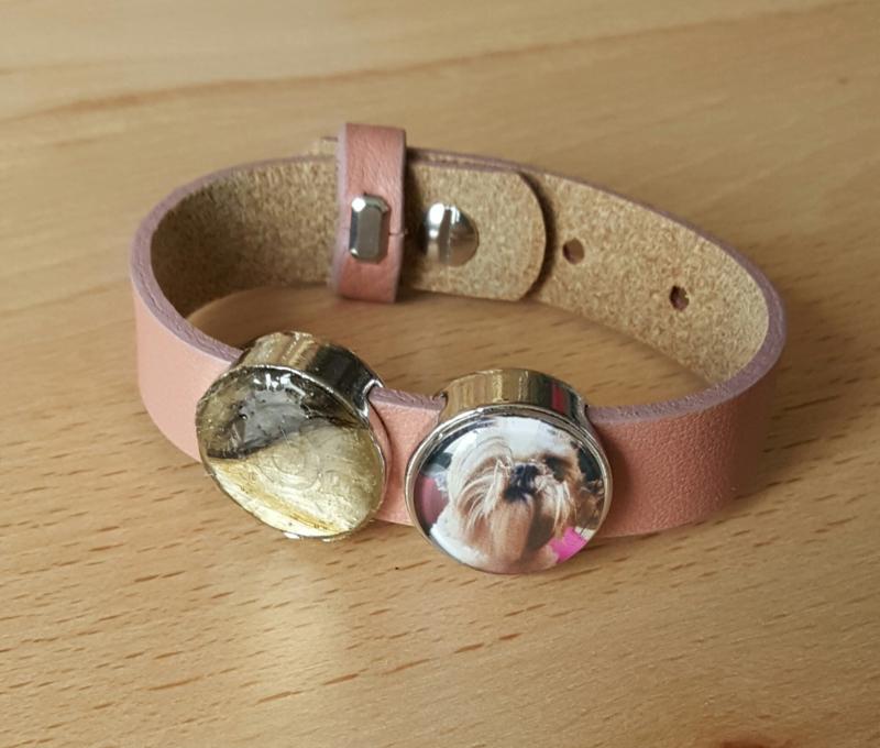 Leren armband Pink Blush