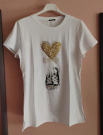 T-shirt parels/ pailletjes goud