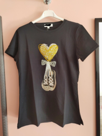 T-shirt parels/ pailletjes zwart/goud