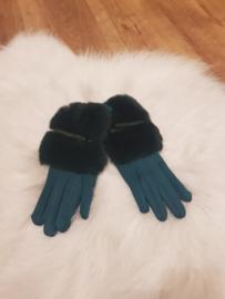 Gloves groen met vacht