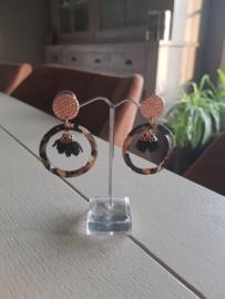 Ring bruin/zwart flower