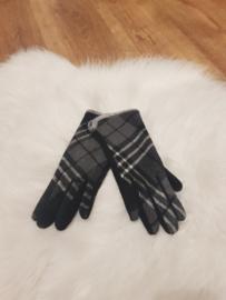 Gloves grijs/zwart geruit