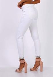 Witte broek met bloemenrand