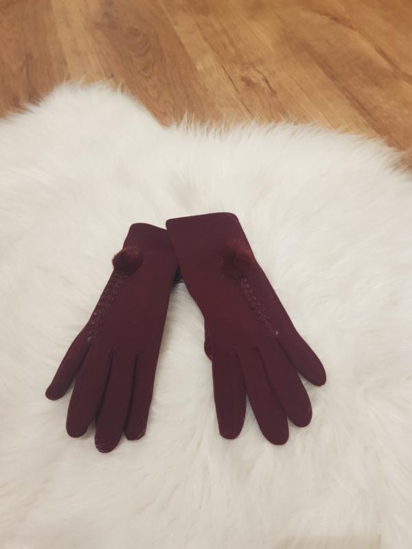 Gloves Bordeaux pompon