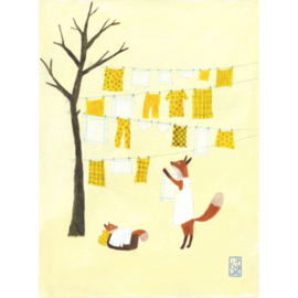 Postkaart A6 | Fox Baby laundry | 5 stuks
