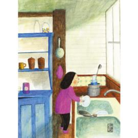 Postkaart A6 | Meisje Keuken | 1 stuk