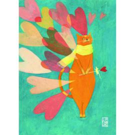 Postkaart A6 | Cat Love | 1 stuk