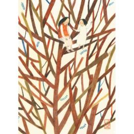 Postkaart A6 | Sisters in Tree | 1 stuk