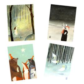 Postkaart A6   Kerst Mix   4 x 2 stuks
