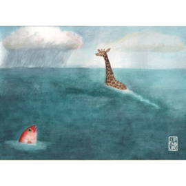 Kaart A5 | Giraffe and Fish | 2 stuks