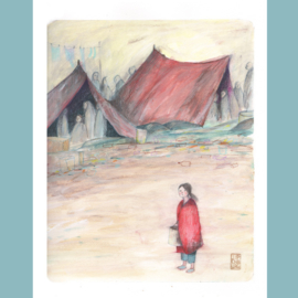 Originele Illustratie   Refugee Girl