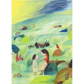 Postkaart A6 | Sisters in Green | 1 stuk