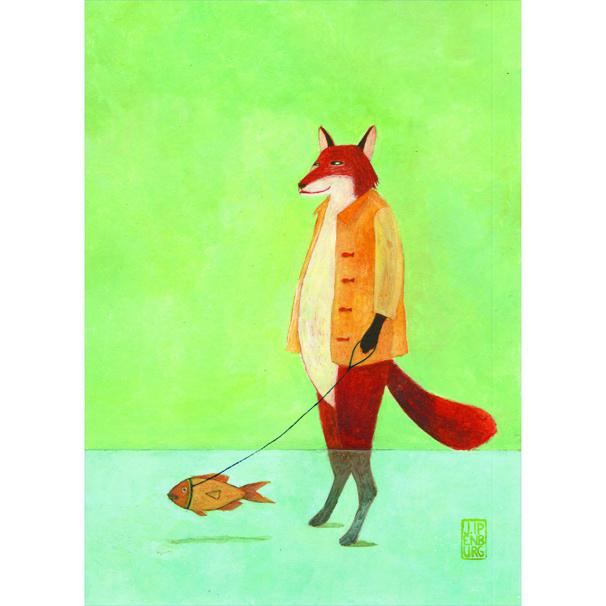 Postkaart A6 | Fox wit Pet Fish | 1 stuk