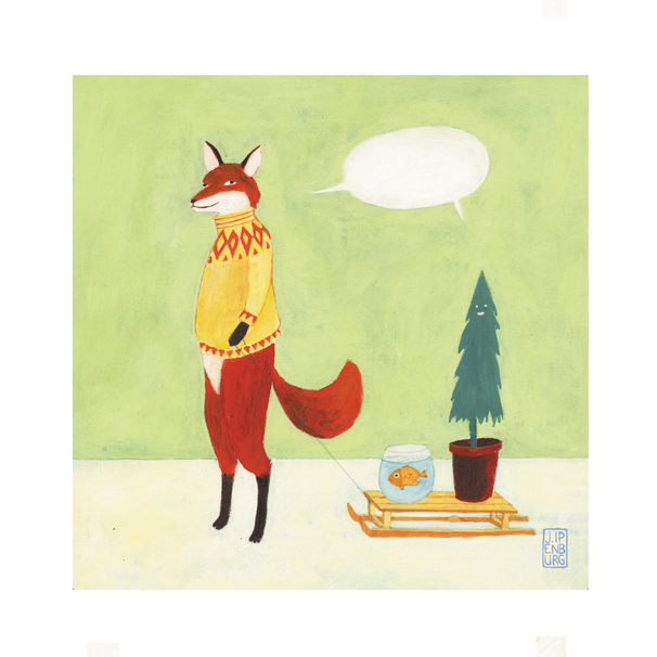 Postkaart   Fox with Pet Fish, a Christmas edition   5 stuks