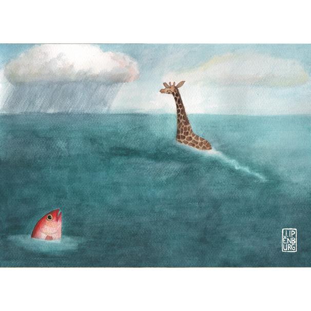 Kaart A5 | Giraffe and Fish | 5 stuks
