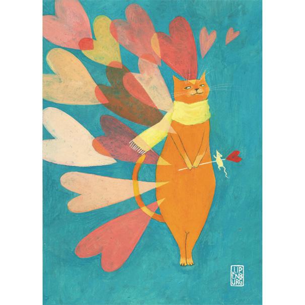 Postkaart A6 | Cat Love | 5 stuks
