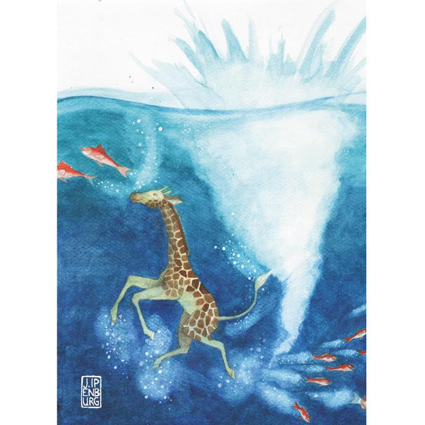 Kaart A5 | Diving Giraffe | 2 stuks
