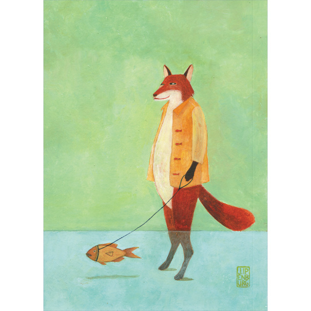 Postkaart A6 | Fox with Pet Fish | 5 stuks