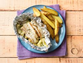 Vispakketje van heekfilet met citroentijm en aardappelen