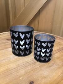 Waxinelichthouder zwart met hartjes - Setje van 2