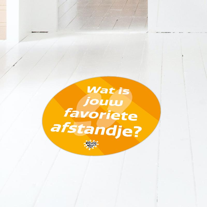 Vloersticker (10 stuks) - Wat is jouw favoriete afstandje