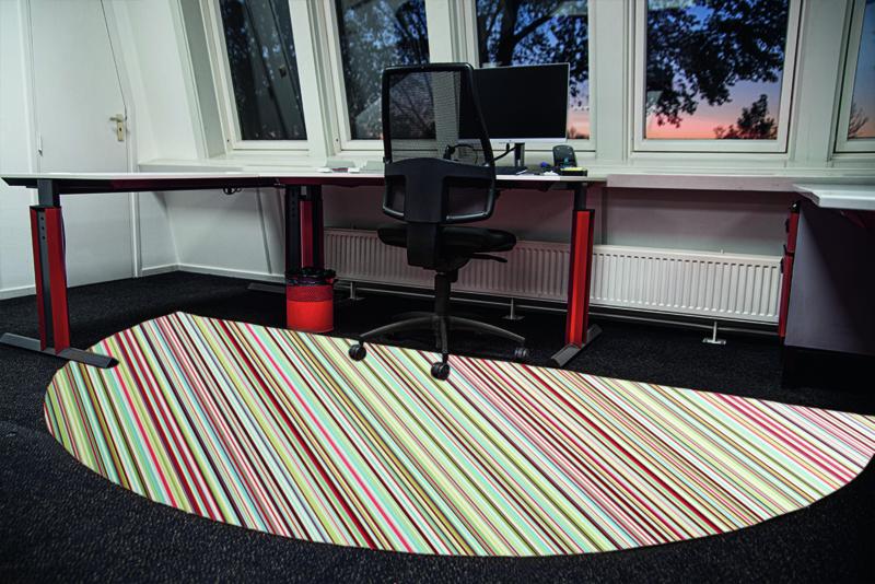 Halfronde vloercirkel vinyl (1,5 m) - gekleurde streepjes