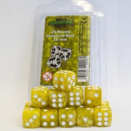 Blackfire - D6 Dobbelstenen - Marbled Yellow (15 stuks)
