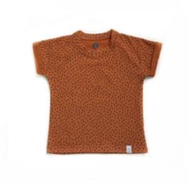 Little & Cool | Shirt roestbruin met zwart mini streepje