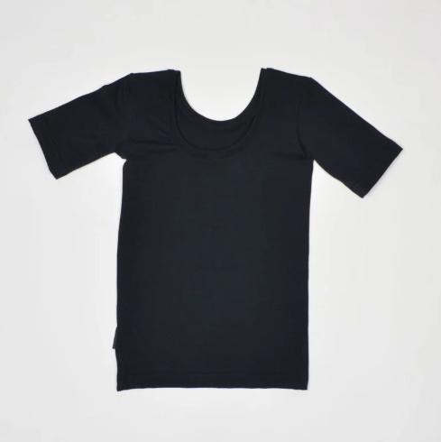 No Labels | Low back top zwart driekwart mouwen