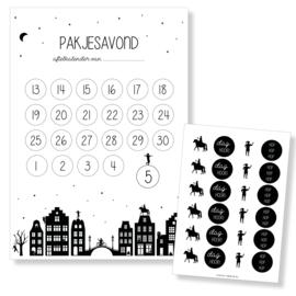 Aftelkalender Sinterklaas A4 inclusief toffe stickers