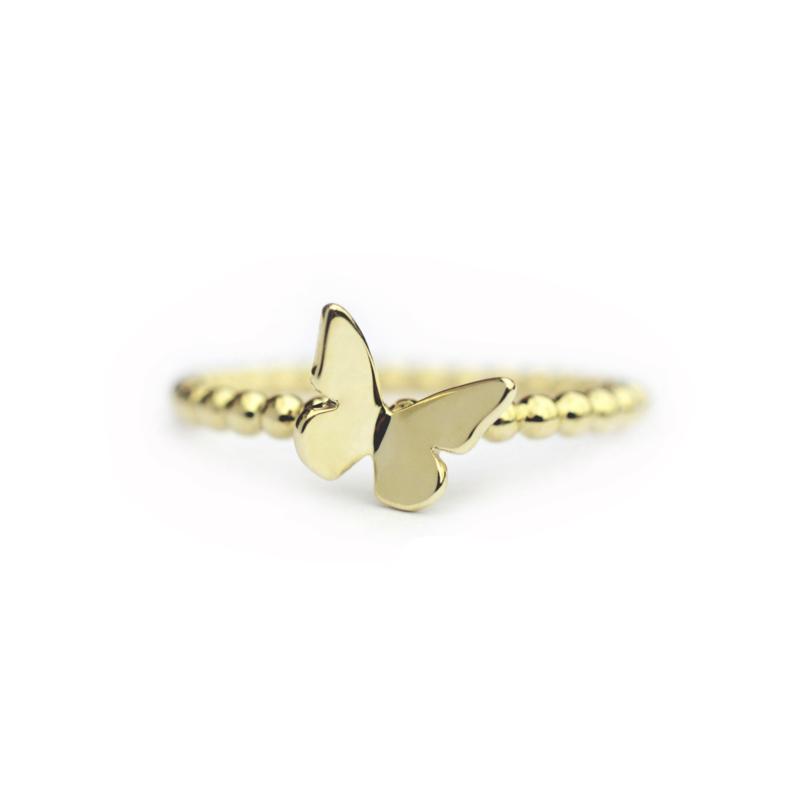 Bolletjes ring met vlinder