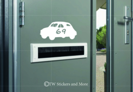 Auto met huisnummer (lettertype en auto naar keuze)