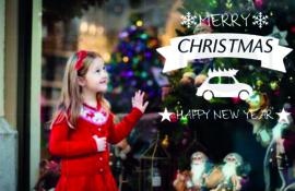 Winkelruit Merry Christmas Happy New Year met sneeuwvlokken, sterren en afbeelding naar wens