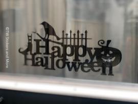 Happy Halloween met heksen schoenen, kraai, hek en pompoen